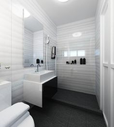 Black Floor Tiles And White Wall Tiles With Mosaic Featuretiles Amusing Mosaic Feature Tiles Bathroom Decorating Design