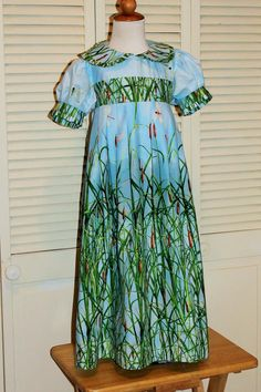 Handmade Boutique Dress in Water Lily Border Print by vivyscloset, $65.00