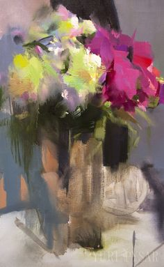 Contemporary Still Life Painting Abstract Flowers by Pysar on Etsy