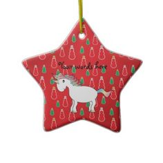 Christmas unicorn red snowman pattern ornament