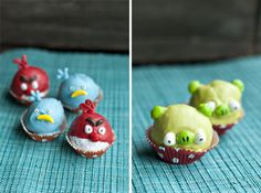 Angry Bird Donut Holes and the pigs too! She used blue, red and green candy melts. Pretty smart, actually. The pin leads you back to the family kitchen's blog and instructions how to make these. It will be a big hit in my house for sure. They are all crazy about this game, even the ones who are no longer teenagers around here like to play it!