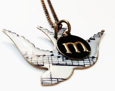 Unique Necklace Song Bird Necklace Music Note by SusanAnna on Etsy