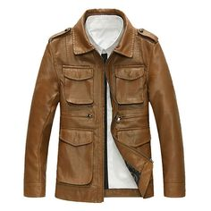 Motorcycle Style Outdoor PU Leather Multi Pockets Epaulets Jacket for... ($66) ❤ liked on Polyvore featuring men's fashion, men's clothing, men's outerwear, men's jackets, mens motorcycle jacket, mens zip jacket, mens short sleeve jacket, mens brown leather motorcycle jacket and mens pleather jacket