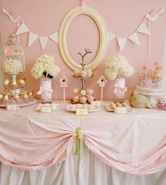 Little Birdie Baby Shower - beautiful dessert table! #babyshower
