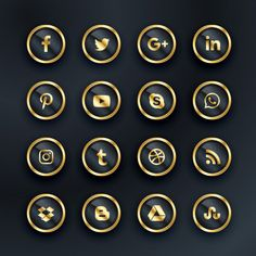 Luxury style social media icons Free Vector