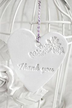 Thank You Handmade Clay Heart Tags White by Evelyncraft on Etsy, very pretty Clay Projects, Clay Crafts, Dough Ornaments, I Love Heart, Salt Dough, Shades Of White, Air Dry Clay, Vintage Shabby Chic, Cold Porcelain