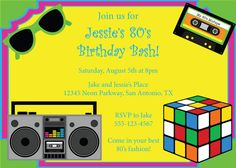 80's Party Invitation Birthday Invite Eighties by CowPrintDesigns, $10.00