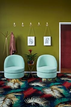 Olive green hallway with twin armchairs in Hallway Ideas. Olive green hallway in…