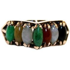 Pre-Owned 14K Gold & Marquise-Cut Jade Ring (€210) ❤ liked on Polyvore featuring jewelry, rings, gold jewellery, jade ring, 14k ring, gold jewelry and cabochon rings