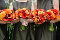 These burnt oranges of rose, gerber a, dahlia, hypericum and callas worked beautifully against the soft olive bridesmaids dresses.