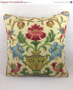 "30 Day Mega Sale Zoffany Fabrics ~ 'Pompadour' ~ Cushion Cover, Classic Prints Coll ~ Ochre Col 18"" x 18"""