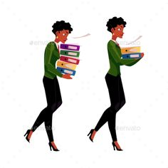 Black, African businesswoman carrying pile of document folders, normal and heavy workload concept, cartoon vector illustration iso