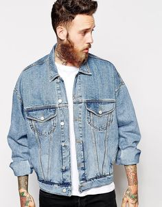 Here's what I don't want in a denim jacket. Baggy and too light of a wash for me.