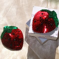 STRAWBERRY Red & Green Sequin Nipple Pasties by IntimateJewelleryD