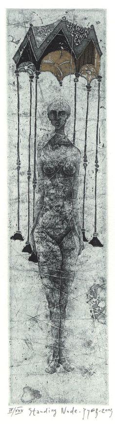'Standing Nude' (2003) by Russian artist & printmaker Vladimir Zuev (b.1959). Etching, 22.8 x 5.8 cm. via the artist's site