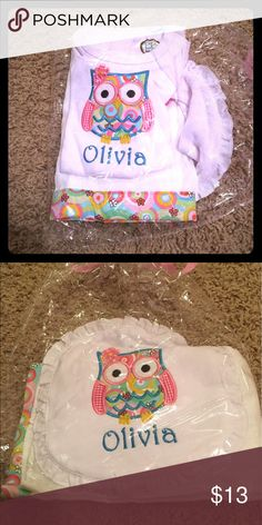 """Baby gift Handmade baby gift. This was bought as a gift and I was never able to get it to them. Very cute multi-colored owl with name """"Olivia"""" on a onesie, burp cloth, and bib. Would make a great gift, already wrapped in gift paper. I paid $50 for it. Matching Sets"""