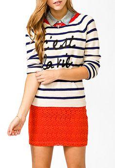 Nautical C'est La Vie Sweater Was:$24.80 Now:$16.99