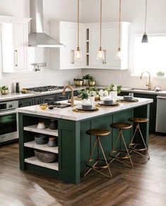 Kitchen interior - 35 Beautiful Kitchen Colors Ideas To Make Extraordinary Look – Kitchen interior Kitchen Design Color, Kitchen Colors, Beautiful Kitchens, Green Kitchen Cabinets, Kitchen Interior, Kitchen Island Design, Kitchen Remodel, Kitchen Renovation, Kitchen Layout