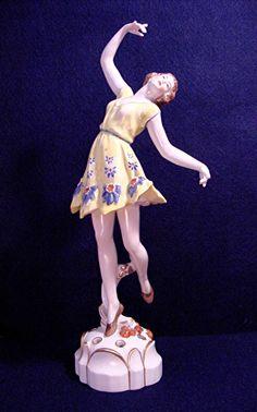 Vintage Art Deco Volkstedt Flower Frog Woman Dancer Porcelain German Figurine | eBay