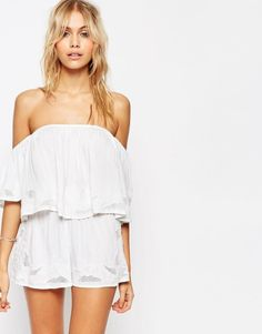 Bali Cut Work Off Shoulder Beach Crop Top Co-ord by ASOS. Beach top and shorts set by ASOS Collection, Soft-touch woven fabric, Stretch neckline top, Off shoulder design, Matc...