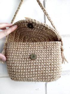 Jute Bags, Mini Crossbody Bag, Ems, Straw Bag, Purses, Crochet, Handmade, Vintage, Crochet Pouch