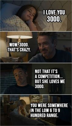 Quote from the movie Avengers Endgame 2019 Tony Stark Love you tons Morgan Stark I love you 3000 Tony Stark Wow 3000 Thats crazy Go to bed or Ill sell all your toys Nigh. Avengers Humor, Marvel Avengers, Marvel Jokes, Avengers Quotes, Funny Marvel Memes, Marvel Films, Dc Memes, Marvel Dc Comics, Marvel Heroes