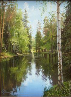 """Купить картина маслом """"Омут"""" - авторская работа, лес, вода, картина в подарок, пруд"""