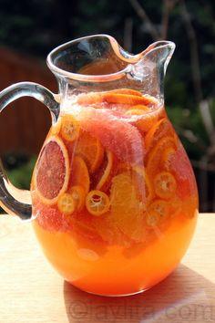 Citrus fruit white sangria with moscato wine