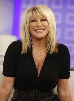 """Suzanne Somers thought her career was over after she was fired from her hit sitcom """"Three's Company"""" in 1981 over a salary dispute. Little did she know — her career was just beginning. Older Women Hairstyles, Long Bob Hairstyles, Crown Hairstyles, Hairstyles With Bangs, Hairdos, Medium Hair Styles, Short Hair Styles, Pop Art, Hair Movie"""