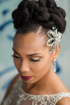 wedding hairstyles for black women black women wedding hairstyles high updo faceaffairs Natural Hair Wedding, Natural Hair Updo, Wedding Updo, Natural Hair Styles, Natural Hair Brides, Natural Curls, Wedding Beauty, Natural Beauty, Black Girls Hairstyles
