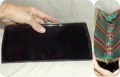 Vintage 60s Black Patent Clutch Handbag Rainbow Lining 50s MADMEN MOD  Purse