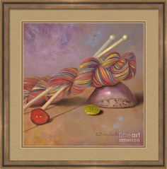 """""""Koigu Yarn With Buttons"""" is a print on Fine Art America. Click the image to see it, then choose your own mat, frame, and print size. This wood frame is SLW5 Slimwoods with black and gold, one inch wide (in the """"Brown"""" drop-down menu).  Mat is color of Saddle Tan, 2 inches wide.  Inner mat is color of Rust, 1/4th inch wide.  Print size as shown is 16 x 16 inches.  Art © Nancy Lee Moran ☺ The white """"Fine Art America"""" logo does NOT appear on items that you purchase. #knitting #yarn…"""