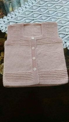 Discover thousands of images about Hand knit baby vest /cardigan / with Teddy.Unisex baby by AnaSwetThis Pin was discovered by HUZ Baby Knitting Patterns, Knitting For Kids, Easy Knitting, Knitting Designs, Knitting Stitches, Crochet Baby Jacket, Knitted Baby Cardigan, Knit Baby Sweaters, Girls Sweaters