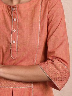 Buy Orange Mangalgiri Cotton Kurta with Gota Online at Jaypore.com Punjabi Suit Neck Designs, Shopping Coupons, Kurta Designs, Orange Color, Arrow Necklace, Chic, Elegant, Cotton, Women