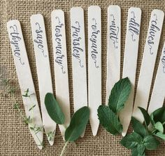 Pretty and functional plant markers - at home with Ashley pretty and functional plant markers. These are perfect for a garden and are made in lots of differe Herb Labels, Garden Labels, Plant Labels, Garden Plant Markers, Herb Markers, Herb Pots, Different Plants, Creations, Garden Stakes