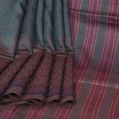 Rema Kumar Shuttle Grey & Congo Brown Hand Printed & Embroidered Tussar Silk Saree 10001702 - AVISHYA