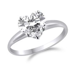 1 Ct Heart Shape Solitaire Engagement Wedding Promise Ring Solid 14K White Gol #gemdepot #SolitaireRing