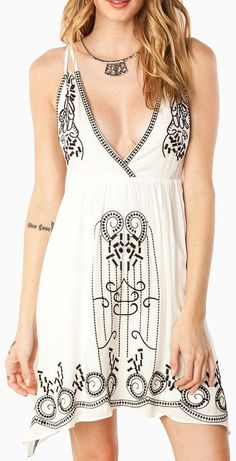 White and Black Embroidered Dress