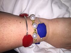 Only $25 for all three!! Come visit my shop for these Patriotic Wire Wrapped Bangle Set by BanglesandBurlapFL on Etsy