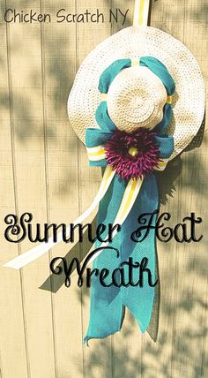 Brighten up your porch with big bows and big flowers by dressing up a cheap hat from the dollar store with this easy to understand Summer Wreath Tutorial Spring Hats, Summer Hats, Hat Crafts, Diy And Crafts, Diy Wreath, Wreath Ideas, Door Wreaths, Hat Decoration, Flower Hats