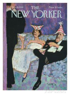 The New Yorker Cover - December 31, 1966 Regular Giclee Print par Charles Saxon…