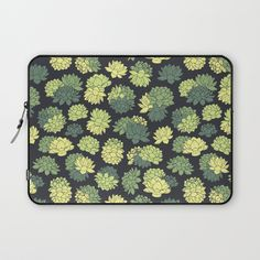Green Succulents Pattern Laptop Sleeve #faerieshop #tropical #floral #succulents #plants #lotus #pattern #water #lily #flowers #drawing #art #liles #blossom #green #ornament #shopping #accessories #society6 #laptopsleeve #buy