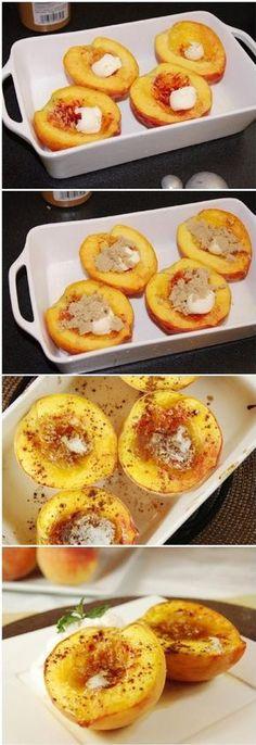 Brown Sugar Baked Peaches - 14 Splendid Guilt Free Desserts | GleamItUp