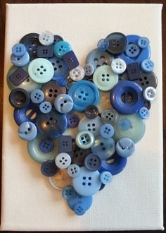 Beautiful Handmade Heart Button Canvases