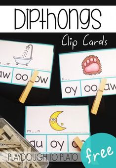 Free Diphthong Clip Cards – Playdough To Plato Free dipthong clip cards! Fun literacy center or word work activity for first grade or second grade. Word Work Stations, Word Work Centers, Literacy Stations, Reading Centers, Reading Stations, Writing Centers, Literacy Skills, Phonics Words, Phonics Activities