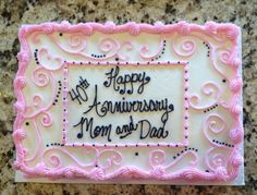 Anniversary cake using wedding colors  1/4 white $30  Call Jaci @ 740-272-2692 to order Delaware, Ohio