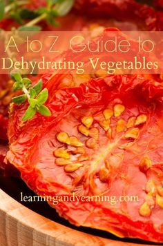 "Learn to dehydrate with this ""A to Z Guide to Dehydrating Vegetables""."
