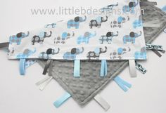 Personalized Elephant Tag Baby Blanket Ribbon Lovey - Boy Blanket Blue and Gray. $27.00, via Etsy.