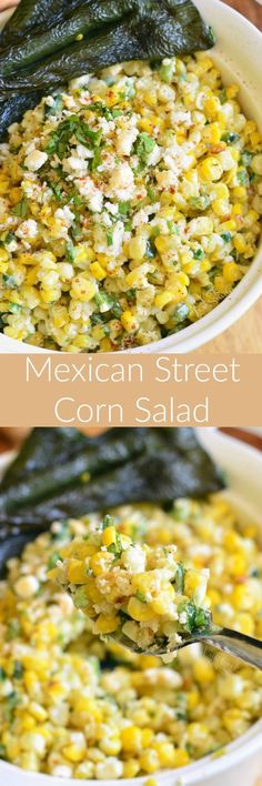 Mexican Street Corn Salad ~ this delicious salad is made with grilled corn, grilled poblano peppers, queso fresco, fresh herbs, and more!