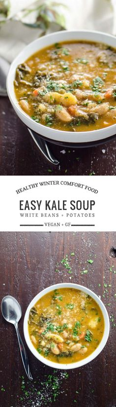 This savory kale soup with white beans and potatoes is fabulous healthy comfort food for your winter days. It's naturally vegan and gluten-free.